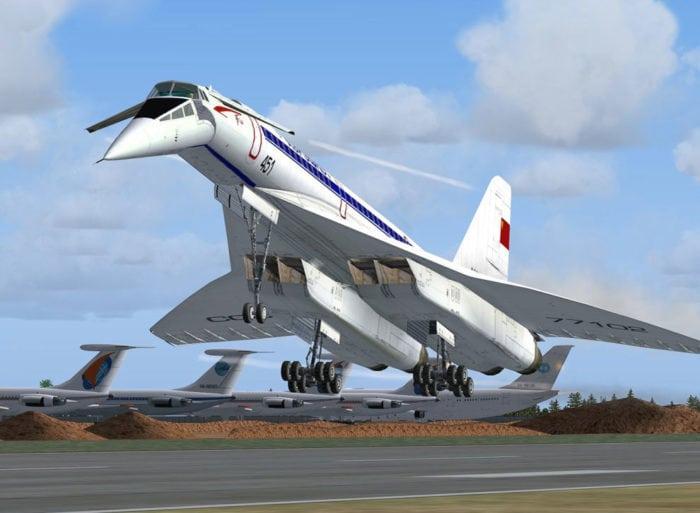 сверхзвуковой пассажирский самолёт Ту-144 на взлёте