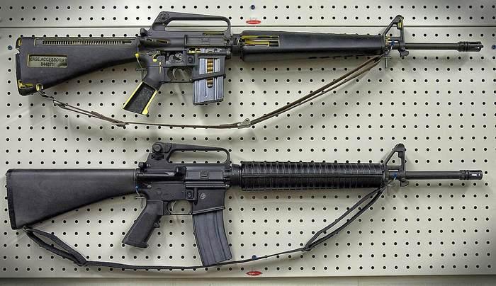 две винтовки м-16