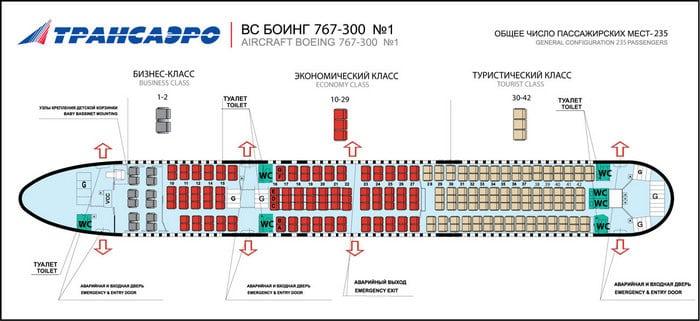 Боинг 767/300 салон