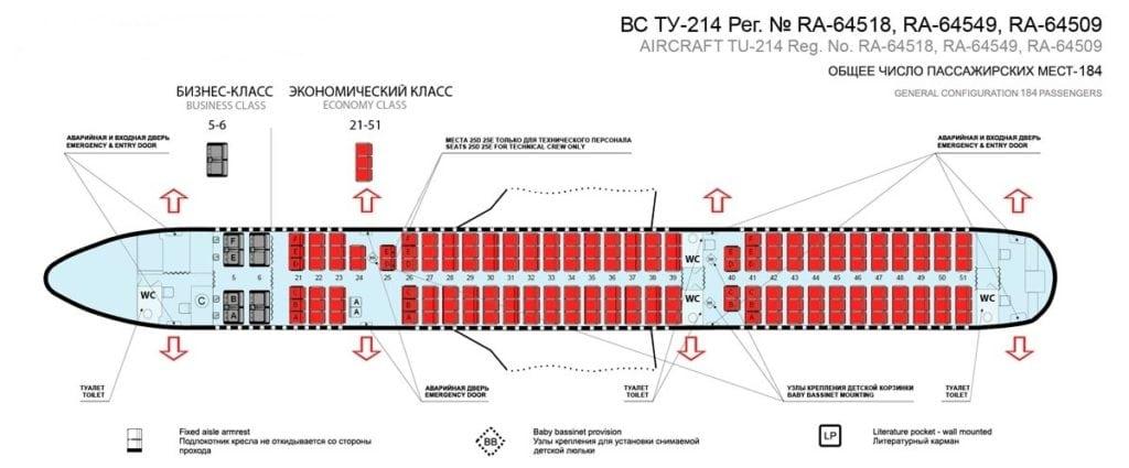 Расположение мест самолета Ту-214