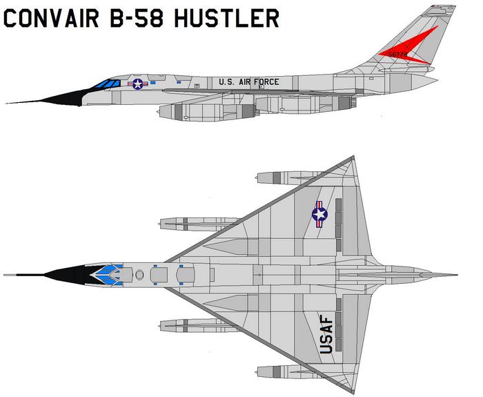 B-58 бомбардировщик чертежи