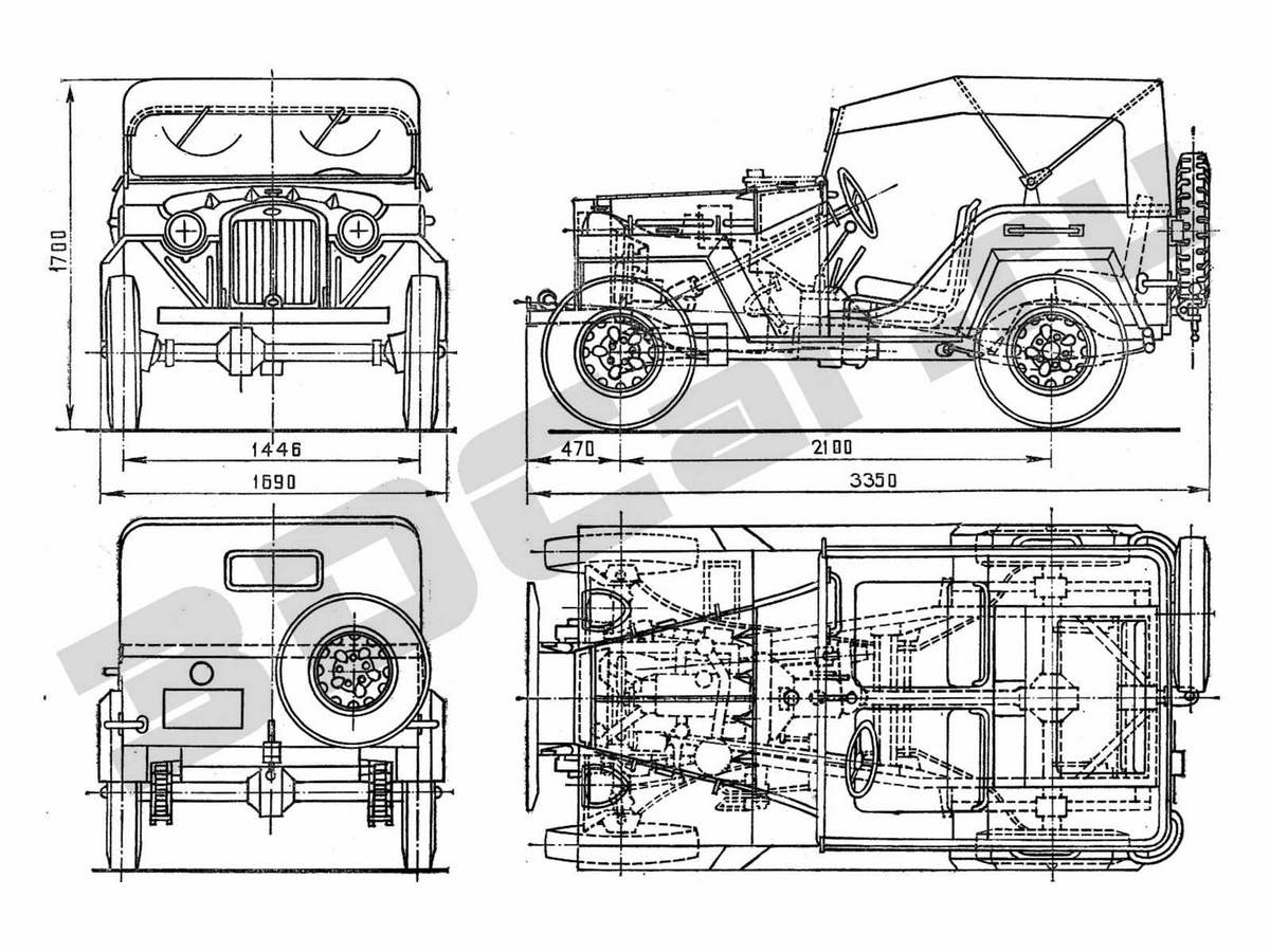 ГАЗ 67 Размеры чертежи